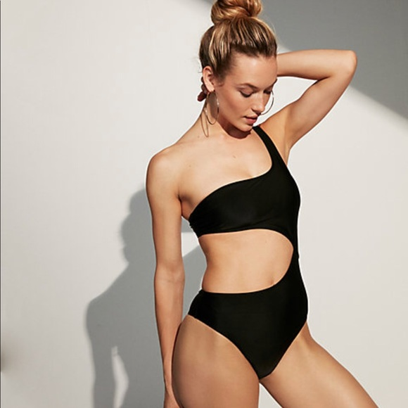 0d84193012f49 Express One Shoulder Cut-Out One-Piece Swimsuit